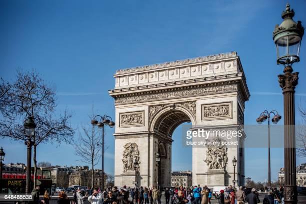 Paris France in Winter and The Arch de Triumph.