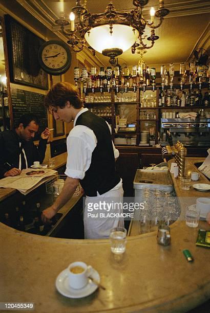 Paris, France - Inside a typical cafe in Le Marais.