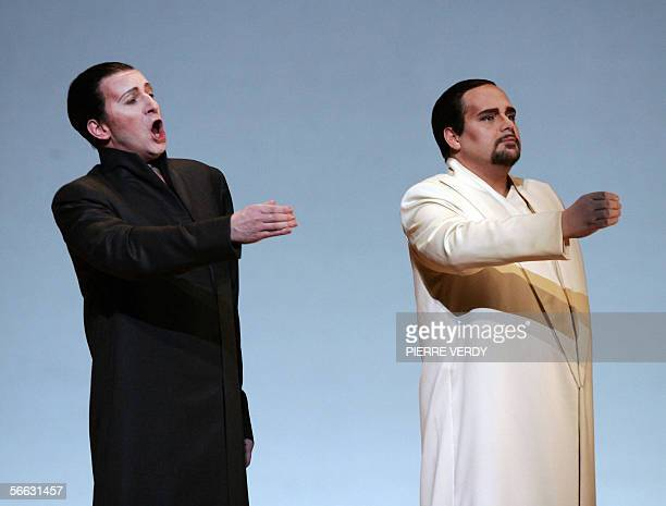 Italian tenor Marco Berti as FB Pinkerton and Dwayne Croft as Sharpless perform 20 January 2006 on the stage of the Opera Bastille in Paris during a...