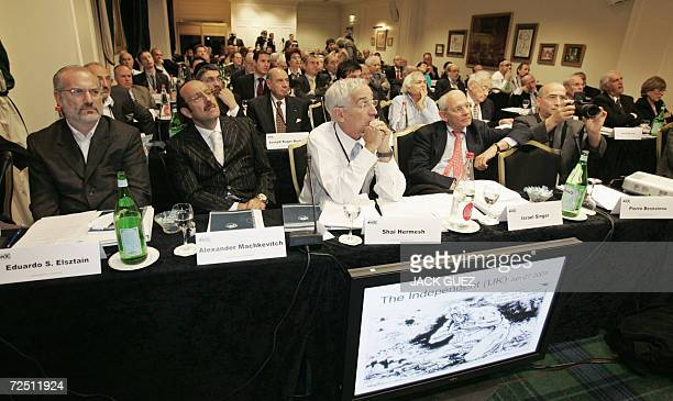 Jewish diaspora leaders listen to the speeches 12 November 2006 in Paris at the opening of the executive council of the World Jewish Congress with...