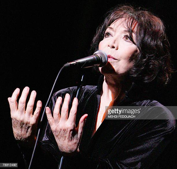 Juliette Greco icon of French chanson and one of the last living links to the postwar Parisian Latin Quarter jazz scene performs on stage to mark her...