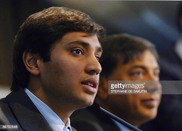Lakshmi Mittal the head of Mittal Steel who has launched a hostile takeover bid for European rival Arcelor is pictured with his son Aditya Mittal...