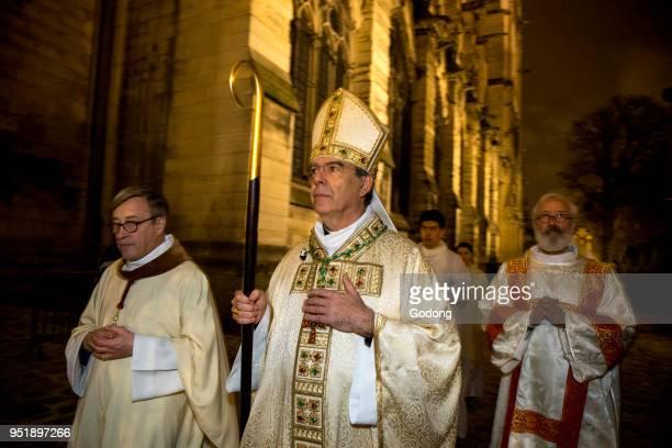 Paris France Michel Aupetit's first mass as Paris archbishop at Notre Dame de Paris cathedral France Entry procession