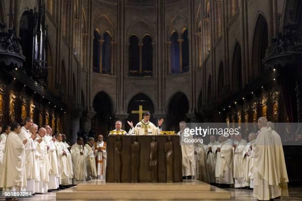 Paris France Michel Aupetit's first mass as Paris archbishop at Notre Dame de Paris cathedral France