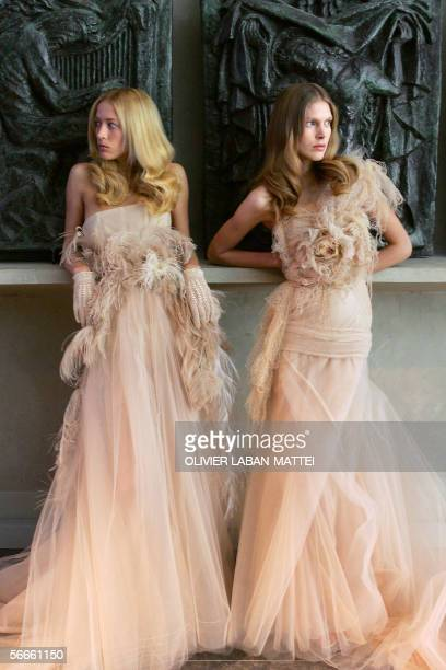 Models presen creations by Italian designer Riccardo Tisci for Givenchy during the Spring/Summer 2006 Haute Couture collections 24 January 2006 in...
