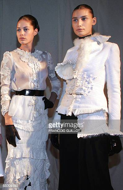 Models present creations by Italian designer Riccardo Tisci for Givenchy during the Autumn/Winter 200506 Haute Couture collections 07 July 2005 in...