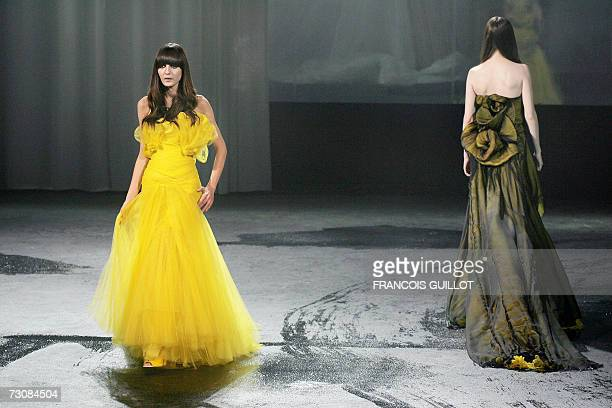 Models present creations by Italian designer Riccardo Tisci for Givenchy during the SpringSummer 2007 Haute Couture show in Paris 23 January 2007 AFP...