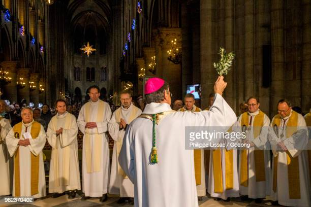 Paris, France. New Paris archbishop Michel Aupetit at Notre Dame de Paris cathedral, France.