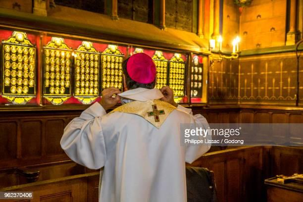 Paris, France. New Paris archbishop Michel Aupetit in the sacristy at Notre Dame de Paris cathedral, France.