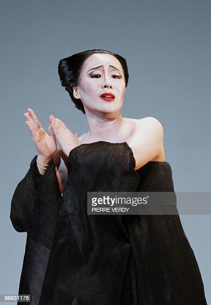 Opera chinese soprano Liping Zhang as CioCio San performs 20 January 2006 on the stage of the Opera Bastille in Paris during a rehearsal for Giacomo...