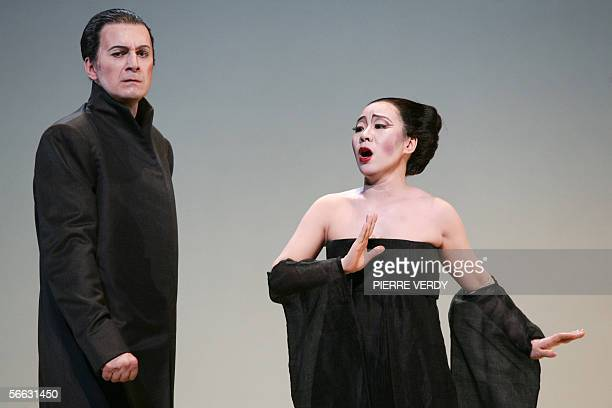 Opera chinese soprano Liping Zhang as CioCio San and Dwayne Croft as Sharpless perform 20 January 2006 on the stage of the Opera Bastille in Paris...