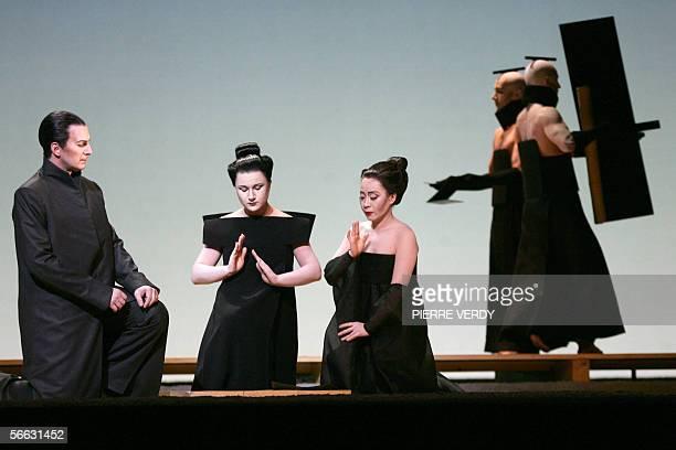 Opera chinese soprano Liping Zhang as CioCio San Ekatarina Gubanova as Suzuki and Dwayne Croft as Sharpless perform 20 January 2006 on the stage of...