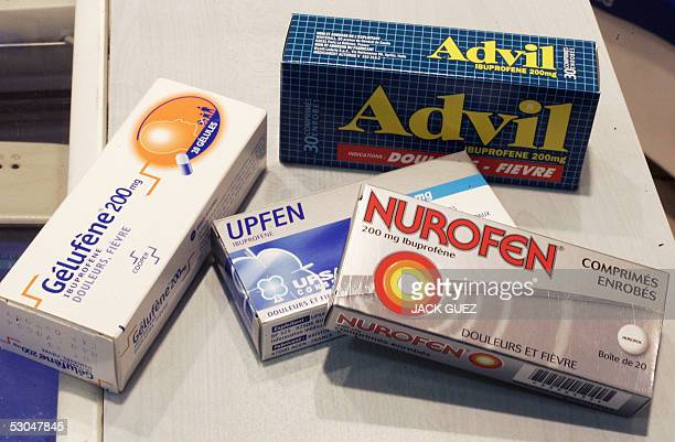 Picture taken 10 June 2005 in Paris of commonly used painkillers medecines based on Ibuprofen an antiinflammatory drug According to a study Ibuprofen...
