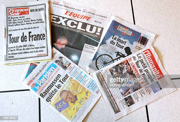 Picture taken 26 July 2007 in Paris shows front pages of French newspapers on the Tour de France cycling race after the dramatic dropping of yellow...