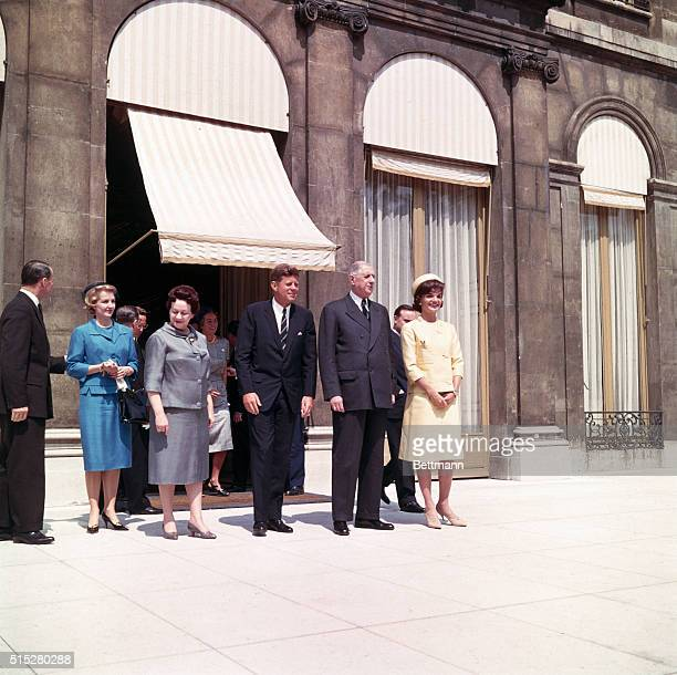 Paris France President and Mrs Kennedy with President and Mrs de Gaulle outisde Elysee Palace L to R Mrs de gaulle John F Kennedy President de Gaulle...