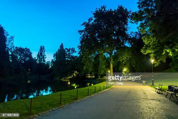 Paris, France, Public Park at Night,