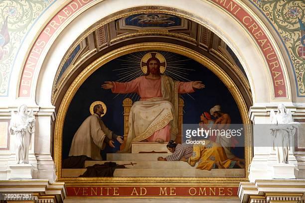 Paris France SaintFrancoisXavier church Fresco depicting Saint Francis Xavier and christian Asians on either side of Christ