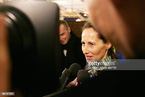 Segolene Royal deputy of the DeuxSevres department answers journalists' questions during the Shoe International Fair 03 February 2006 in Paris AFP...