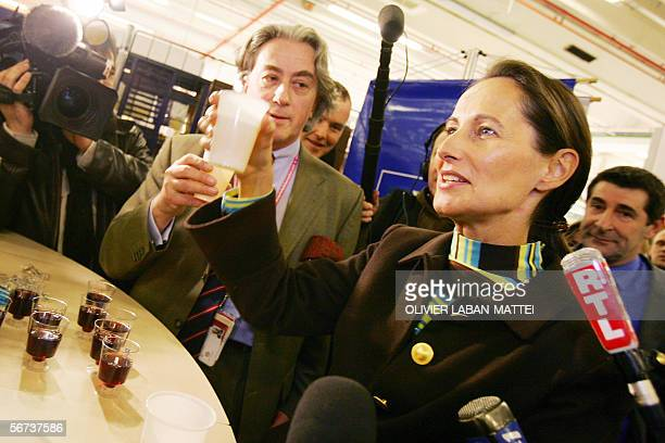 Segolene Royal deputy of the DeuxSevres department drinks some CognacSchweppes with Francois Browne de Kilmaine Shoe's French Federation General...