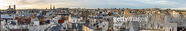 Paris France ville Panorama au coucher de soleil