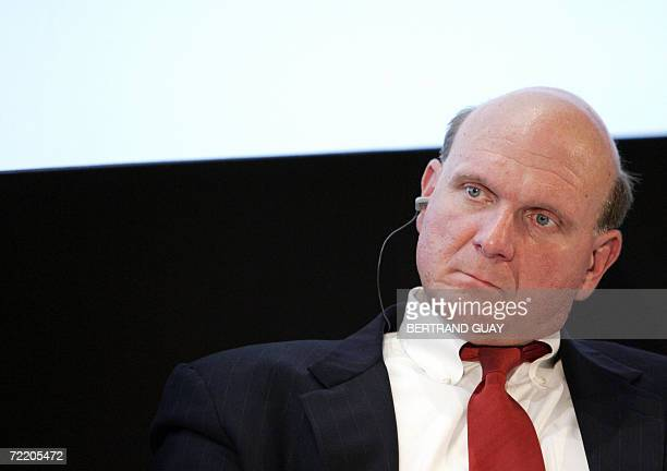 """The Chief Executive Officer of Microsoft Corp, Steve Balmer, attends before a press conference to announce the launch of """"Orange Messenger by Windows..."""