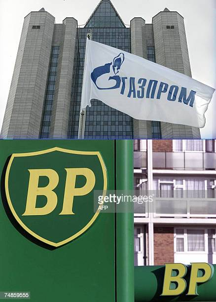 The combo shows the logo of BP on a garage of the company British Petroleum in central London taken 13 February 2001 and a general view dated 03...