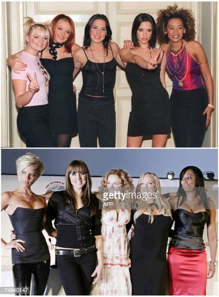 This combo of two pictures taken 16 December 1997 in Paris and 28 June 2007 in London shows Spice Girl members Victoria Beckham Mel C Geri Halliwell...