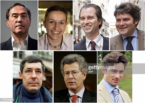 TO GO WITH AFP STORY IN FRENCH Les hommes et femmes du president Combo of recent pictures shows from left to right close advisors or campaign team...