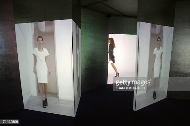 TO GO WITH THE STORY BALENCIAGA AU MUSEE DE LA MODE A picture taken 18 July 2006 at the Paris Textile and Fashion Museum shows screens exhibited at a...