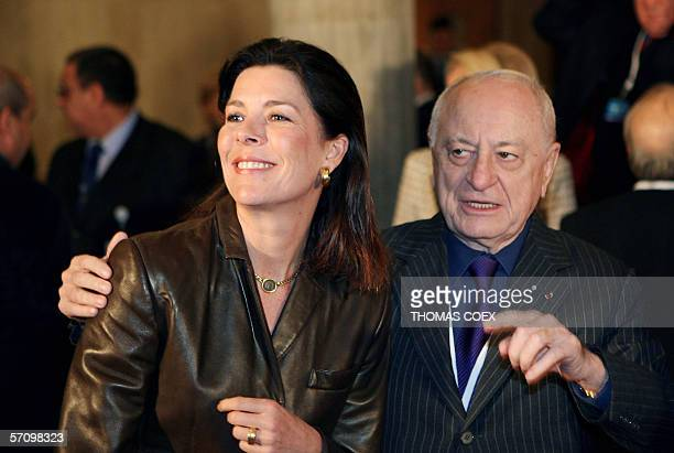 UNESCO Goodwill ambassadors Princess of Hanover poses with French entrepreneur and cofounder of the Yves Saint Laurent fashion group Pierre Berge 15...
