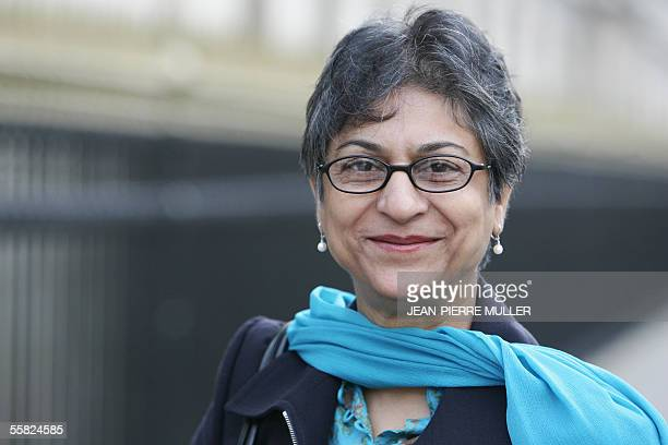 United Nations Special Rapporteur on Freedom of Religion and Belief Asma Jahangir poses 29 September 2005 at the end of her 10day mission in Paris...