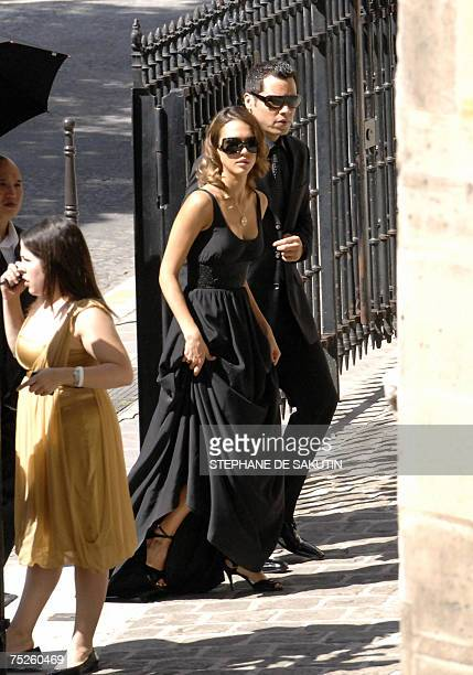US actress Jessica Alba and her husband Cash Warren arrive at the SaintGermain l'Auxerrois church to attend the wedding ceremony of the famous soap...