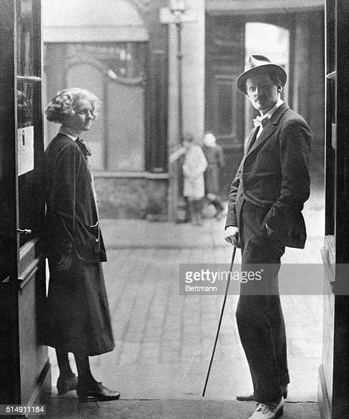 Paris France US artists in Paris in roaring twenties Photo shows Sylvia Beach and James Joyce Filed 8/1959
