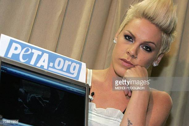 US singer Pink poses 19 December 2006 in Paris during the launch of the boycott campaign against Australian wool called by the animal rights...
