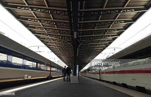 View of German high speed train ICE 3 stays in front of French high speed train TGV 25 May 2007 at Gare de l'Est railways station in Paris its...