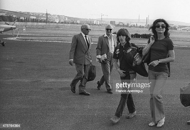 Paris France25 June 1973The helicopter port of Paris Aristotle Onassis arrives with Jackie and John Kennedy Jr