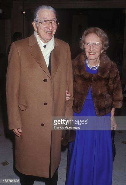 Paris France31/05/88Legendary French tennis player Jean Rene Lacoste and his wife the golf champion Simone Thion de la Chaume