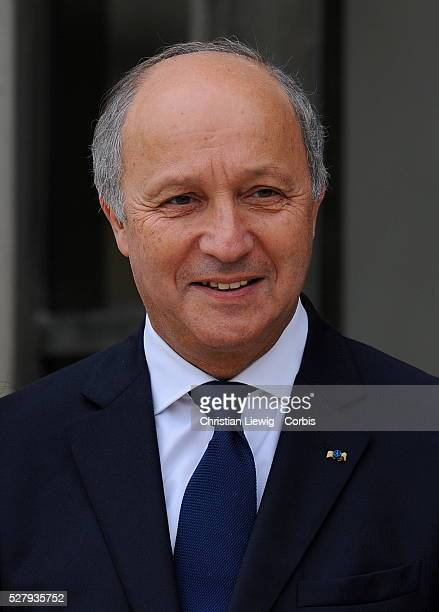 France's newly-appointed Junior Minister d Minister of Foreign Affairs, Laurent Fabius arrive for the first cabinet meeting on May 17, 2012 at the...
