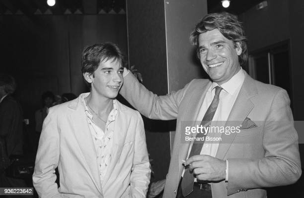 Paris French businessman Bernard Tapie with his son Stephane Tapie in Palais des Congrès for the 2500th of the french radio programme Les Grosses...