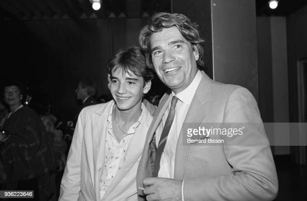 """Paris - French businessman Bernard Tapie with his son Stephane Tapie in Palais des Congrès for the 2500th of the french radio programme """"Les Grosses..."""