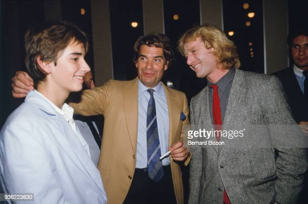 Paris French businessman Bernard Tapie with his son Stephane Tapie and french rugby player JeanPierre Rives in Palais des Congres for the 2500th of...