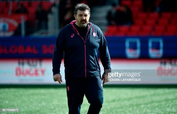 Paris' French head coach Olivier Adam looks on during the French Top 14 rugby union match between Oyonnax and Paris Stade Francais on March 4 at the...
