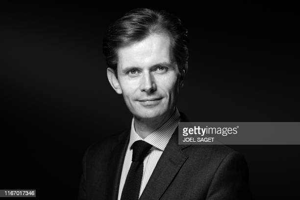 French right-wing Les Republicains party member of Parliament and candidate to the party presidency Guillaume Larrive , poses during a photo session...