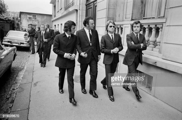 Paris French singers Claude François and Adamo going to Lucien Morisse's funeral who was among others ceo of the radio station Europe 1 15th...