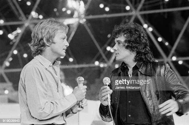 French singers Claude François with Michel Sardou on the set of the french tv show Show Michel Sardou 5th June 1977