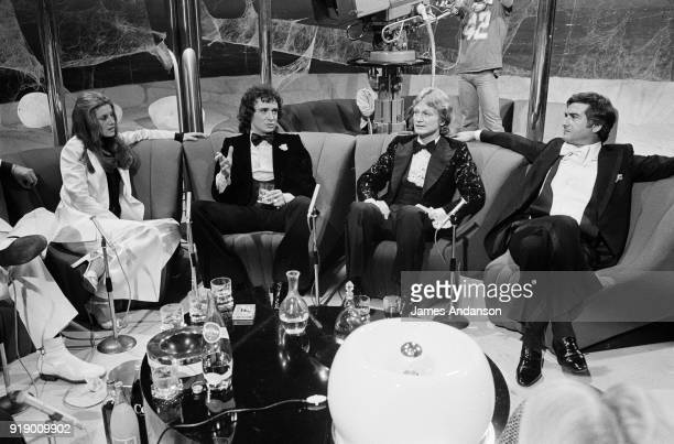 French singers Sheila Michel Sardou and Claude François with the actor JeanClaude Brialy on the set of the french tv show 'Show Michel Sardou' 5th...