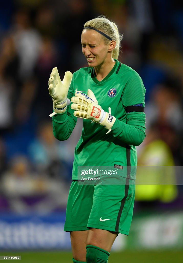 Paris goalkeeper Katarzyna Kiedrzynek reacts after missing her penalty during the UEFA Women's Champions League Final between Lyon and Paris Saint Germain at Cardiff City Stadium on June 1, 2017 in Cardiff, Wales.