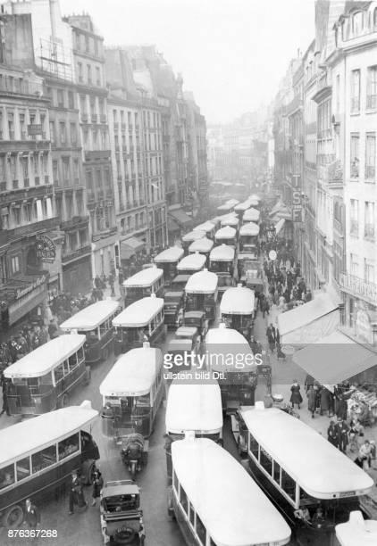 Paris heavy bus traffic in the city Keystone