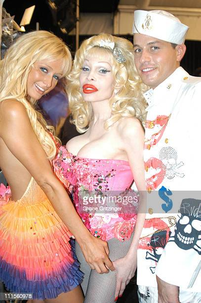 Paris Hilton Amanda LePore and Traver Rains during Olympus Fashion Week Spring 2005 Heatherette Front Row and Backstage at Theater Tent Bryant Park...
