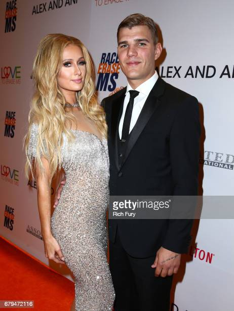 Paris Hilton and actor Chris Zylka attend the 24th Annual Race To Erase MS Gala at The Beverly Hilton Hotel on May 5 2017 in Beverly Hills California